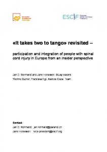 «It takes two to tango» revisited – - European Spinal Cord Injury ...