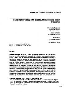 italian municipalities' npfm reforms: an institutional theory ... - Dialnet