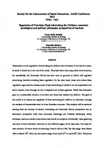 Italy Regulation of Television Food Advertising
