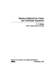 Iterative Methods for Linear and Nonlinear Equations - SIAM