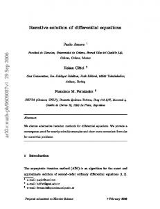 Iterative solution of differential equations