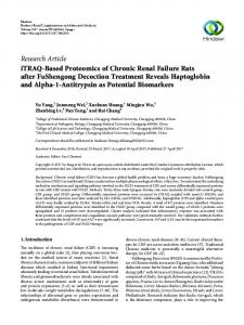 iTRAQ-Based Proteomics of Chronic Renal Failure Rats after ...