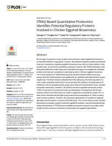 iTRAQ-Based Quantitative Proteomics Identifies