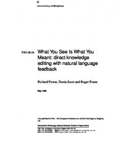 ITRI-98-04 What You See Is What You Meant ... - Semantic Scholar