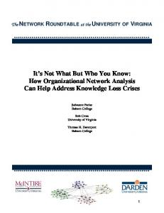 It's Not What But Who You Know: How Organizational ... - Rob Cross