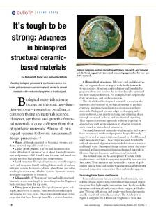It's tough to be strong: Advances in bioinspired structural ceramic ...