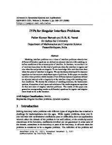 IVPs for Singular Interface Problems 1 Introduction