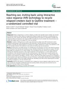 (IVR) technology to recycle relapsed smokers back to ... - BioMedSearch