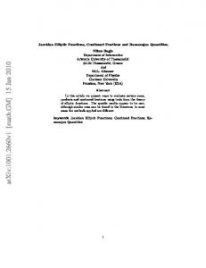 Jacobian Elliptic Functions, Continued Fractions and Ramanujan