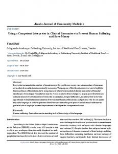 Jacobs Journal of Community Medicine Using a