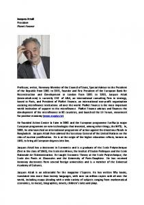 Jacques Attali President Planet Finance Professor, writer, Honorary ...