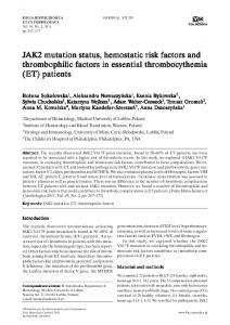 JAK2 mutation status, hemostatic risk factors and