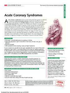 JAMA Patient Page | Acute Coronary Syndromes
