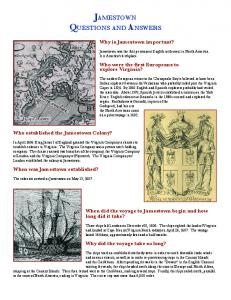 JAMESTOWN QUESTIONS AND ANSWERS
