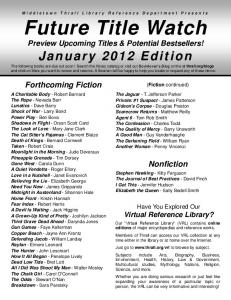 January 2012 - Middletown Thrall Library