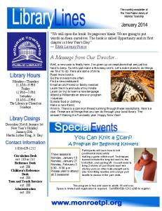 January 2014 Newsletter - The Free Public Library of Monroe ...