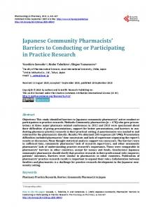Japanese Community Pharmacists' Barriers to Conducting or ...