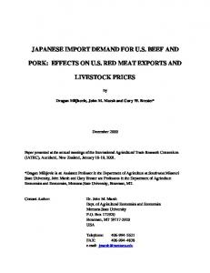 japanese import demand for us beef and pork - AgEcon Search