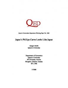 Japan's Phillips Curve Looks Like Japan - Department of Economics