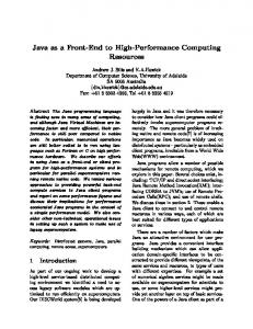 Java as a Front-End to High-Performance Computing ... - CiteSeerX