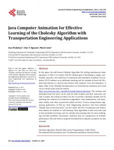 Java Computer Animation for Effective Learning of the Cholesky ...