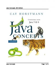 Java Concepts, 5th Edition Java Concepts Page 1 of 4