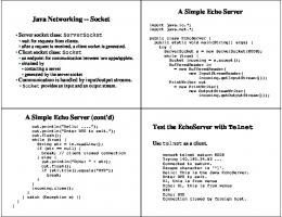 Java Networking -- Socket A Simple Echo Server A Simple Echo ...