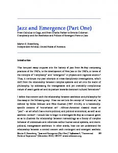 Jazz and Emergence (Part One) - Inflexions