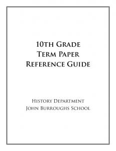 JBS - 10th Grade Research Paper Reference Guide
