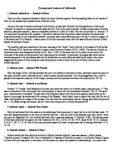 Jehovah Names of God - Gehlhausen.com