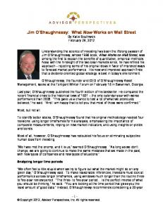 Jim O'Shaughnessy: What Now Works on Wall Street - Advisor ...