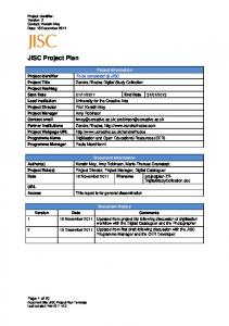 JISC Project Plan Template