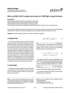 Jitter and Jitter Self-Compton processes for GRB High ...