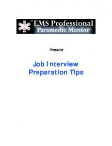 Job Interview Tips - EMS Training Resources