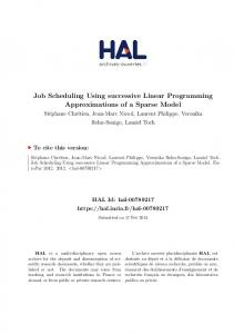Job Scheduling Using successive Linear Programming ... - Hal