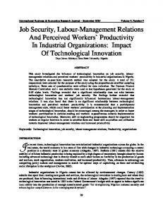 job security, labour-management relations and ... - Clute Institute