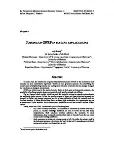 joining of gfrpin marine applications