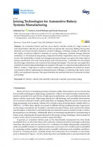 Joining Technologies for Automotive Battery Systems ... - MDPI