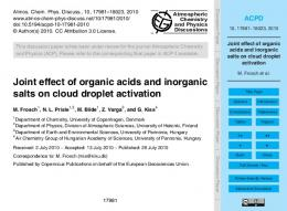 Joint effect of organic acids and inorganic salts on