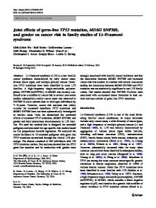 Joint effects of germ-line TP53 mutation, MDM2 ... - Springer Link