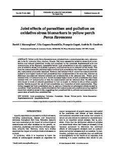 Joint effects of parasitism and pollution on oxidative stress biomarkers ...