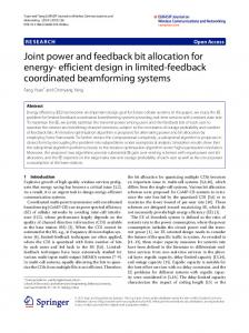 Joint power and feedback bit allocation for energy ... - Semantic Scholar