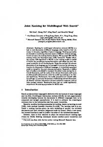 Joint Ranking for Multilingual Web Search - Springer Link