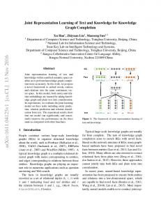 Joint Representation Learning of Text and Knowledge for Knowledge ...