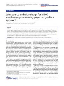 Joint source and relay design for MIMO multi-relay ... - Curtin University