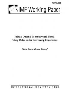 Jointly Optimal Monetary and Fiscal Policy Rules under ... - IMF