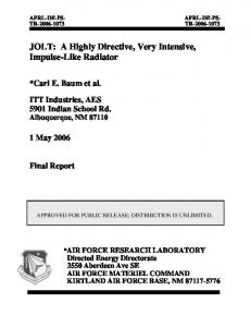 JOLT - Defense Technical Information Center