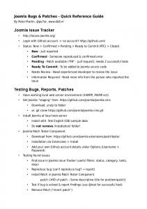 Joomla Bugs & Patches - Quick Reference Guide