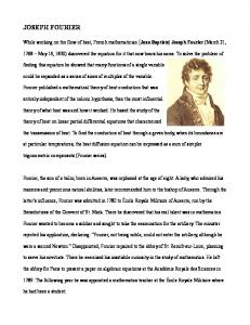 JOSEPH FOURIER - A Chronicle of Mathematical People by Robert ...