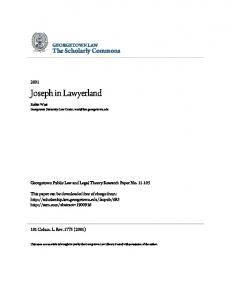 Joseph in Lawyerland - SSRN papers